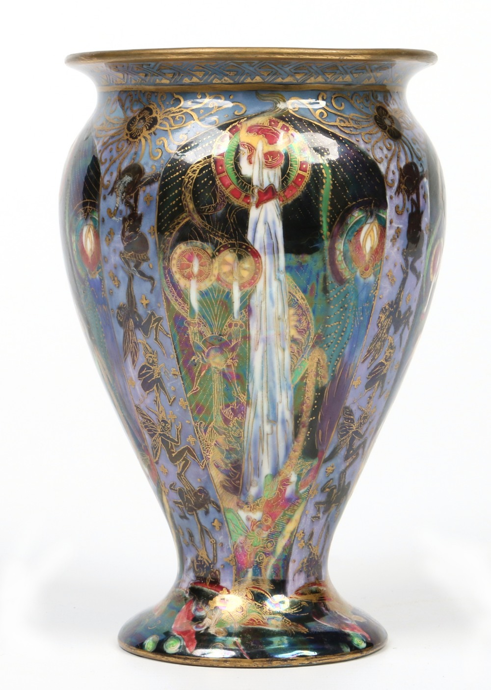 A Wedgwood fairyland lustre vase by Daisy Makeig-Jones. Decorated in the candlemass pattern. Printed marks Z5157, 22.75cm. Estimate: £1 000 - £1 500