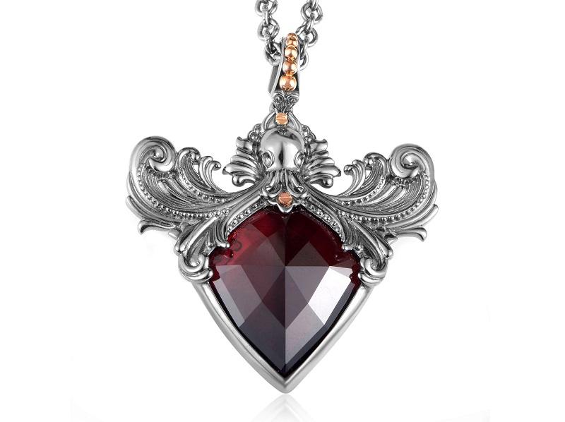 Collar de plata de STEPHEN WEBSTER con diminutas cuentas de oro rosa y cuarzo rojo