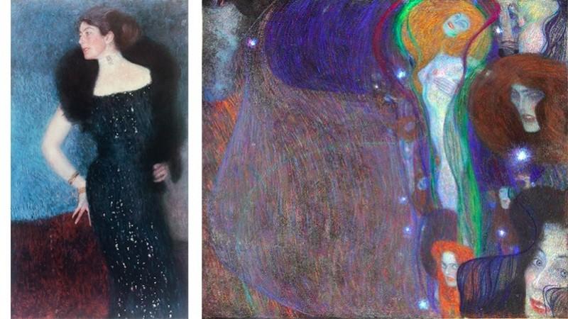 """Vänster: Gustav Klimt, porträtt av Rose von Rosthorn-Friedmann. Foto: Wikipedia. Höger: Gustav Klimt, """"Irrlichter"""". Foto: klimt.com."""