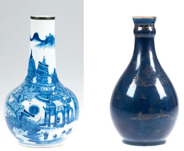 Links: Qianlong-Vase mit Architektur und Landschaft Rechts: Kobaltfarbene Qianlong-Vase mit Goldmalerei