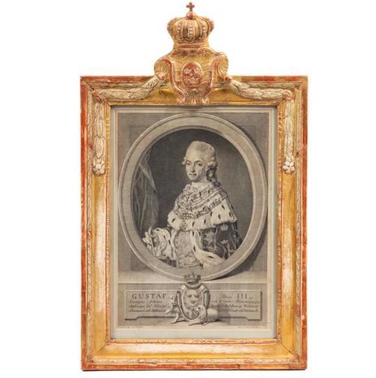 Gravyrer, 1700-tal, föreställande Gustav III och Sophia Magdalena. Utrop: 8 100 SEK. Leslie Hindman