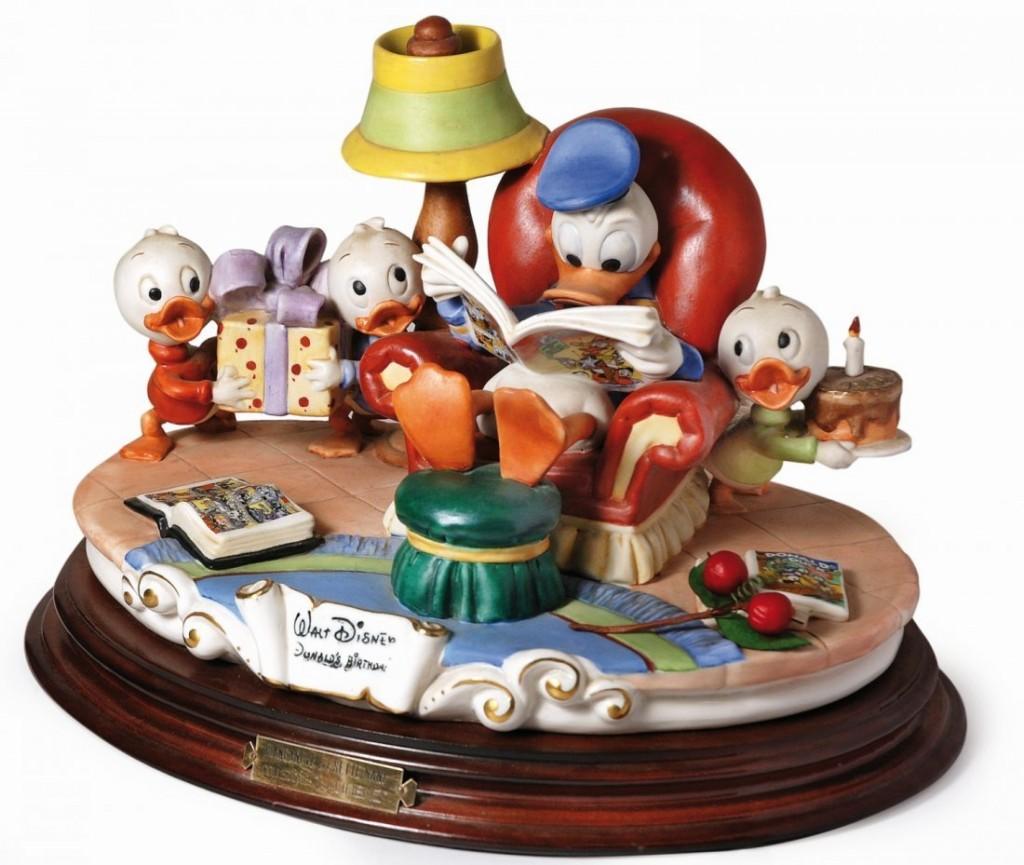 Donald Ducks Birthday, limited group of figures, Capodimonte ceramic, 1984 Estimate: 1300-2500 EUR