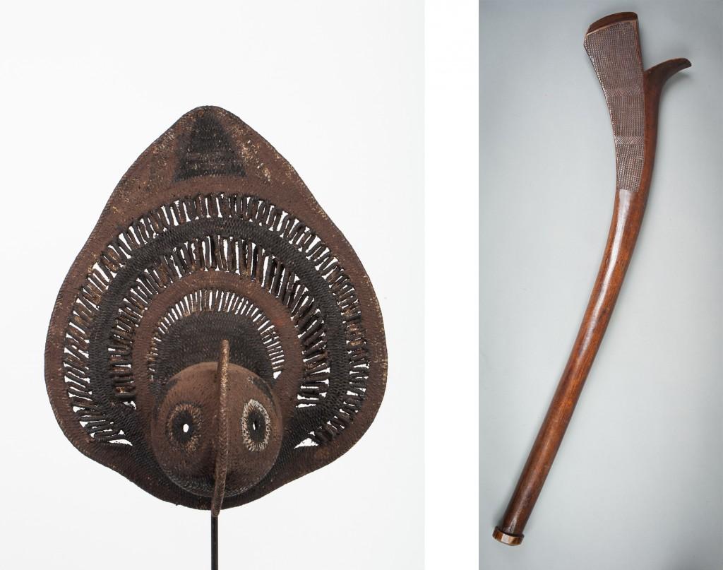 Gauche : 11. Masque à igname, Papouasie-Nouvelle-Guinée, Xxe siècle H - 34 cm / Droite : 12. massue de danse Sali, Îles Fidji, XIX ème