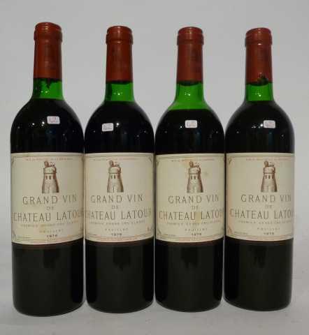 4 bouteilles de chateau Latour, 1er grand cru classé, Pauillac, 1976 Prunier Auction