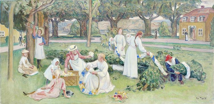 GEORG PAULI 1855-1935 Studie till Midsommar Signerad G. Pauli. Olja på duk, 63,5 x 127 cm. Utförd omkring 1901