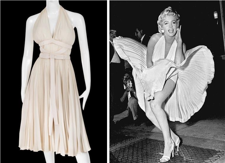 La «robe de métro» de «Sept ans de réflexion » (1955), à gauche : la robe de l'exposition a été conçue par le tailleur de Marilyn, Bill Travilla. Ce n'est pas l'original du film, mais a exactement les mêmes dimensions, image ©Profiles in History / Droite : le tournage de la célèbre «scène de métro» a coûté à Marilyn son deuxième mari : le jaloux Joe DiMaggio ne pouvait supporter de voir autant de gens regarder sa femme, image via Wikipedia