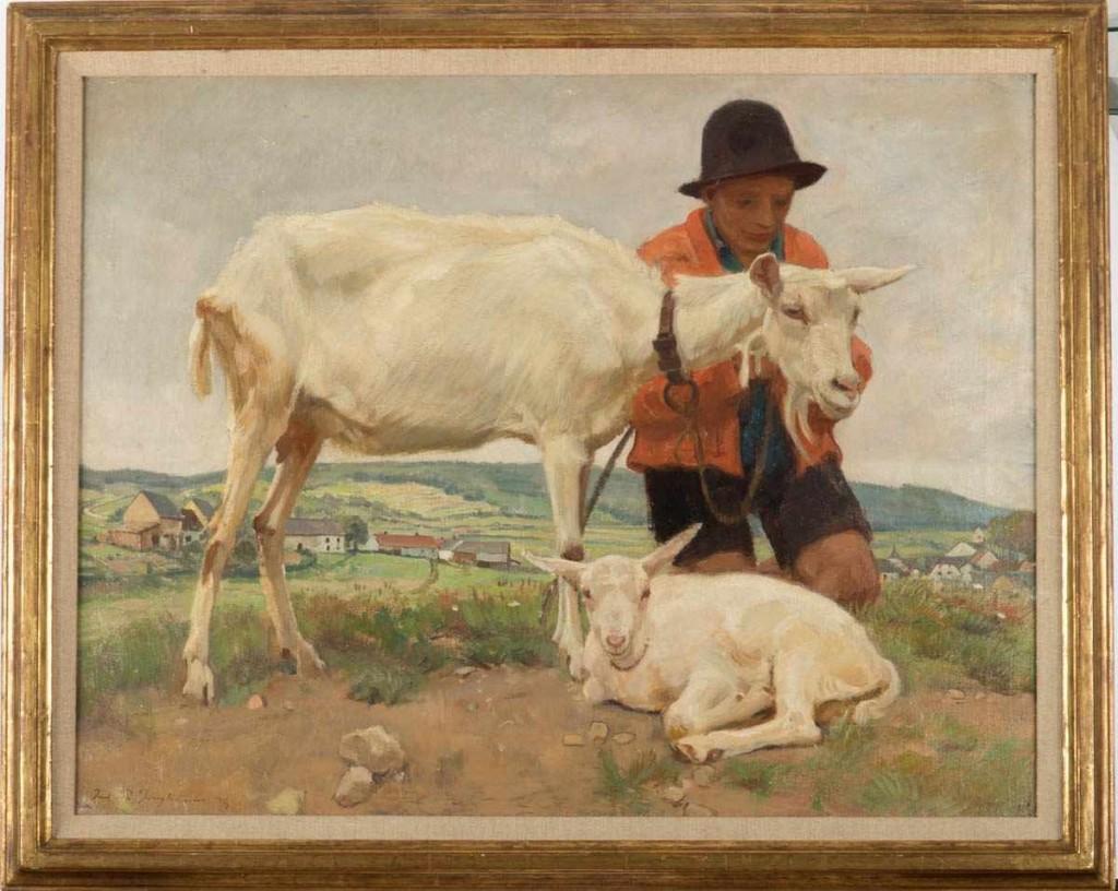 JULIUS PAUL JUNGHANNS (1876 Wien - 1958 Düsseldorf) - Hirtenknabe mit weißer Ziege und Zicklein, Öl/Lwd., signiert