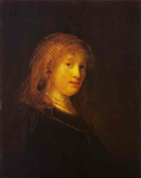 REMBRANDT VAN RIJN (1606-1669) - Portrait de Saskia van Uylenburgh, ca. 1633 Image via klp.pl
