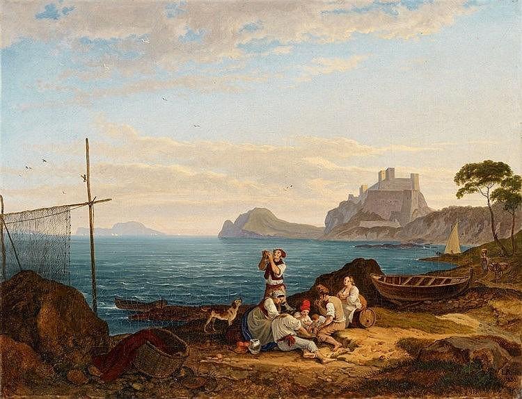LUDWIG RICHTER (1803 Dresde - 1884 Dresde) - Vue de Bajae dans le Golfe de Naples, huile sur toile, 34x43.4 cm, signée et datée, 1830 Estimation: 240 000-260 000 EUR