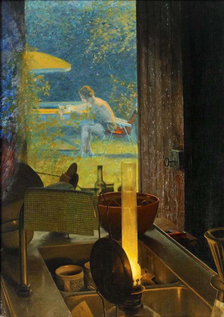 Auktionens bästa målning. Ola Billgren. Verket Sommar ingår i en grupp målningar fr 1970, skildrar hans eget liv, från somrarna i huset i Skåne