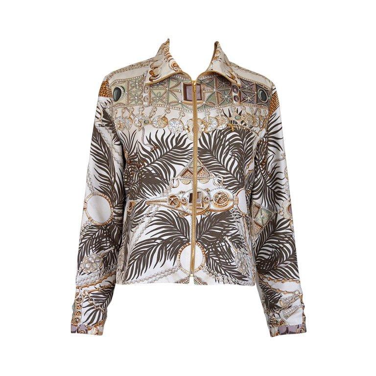 Hermes jacket silk scarf print
