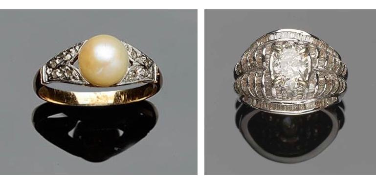 Links: Vintage Ring aus Rosé- und Weißgold mit Perle und Diamanten Rechts: Ring aus Weißgold mit Diamanten (zentraler Diamant: 2,06 ct)