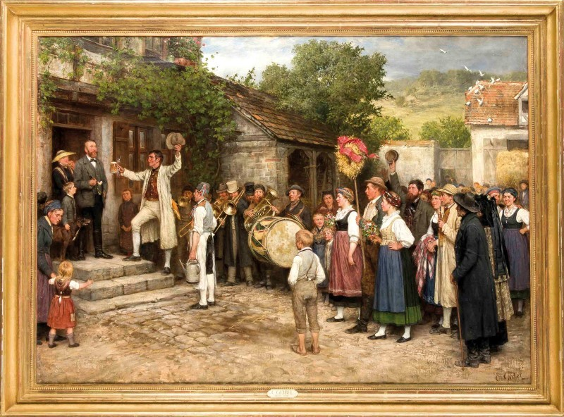 Casimir Geibel (1839-1896), 'Harvest Festival in Thuringia' scene with multiple figures; revelers and musicians in a village community in front of the mayor's house. The finely painted masterpiece exemplifies Geibel's careful depictions of very detailed figures. Casimir Geibel studied at the Art School in Weimar from 1863 together with Arthur George von Ramberg, Ferdinand Pauwels and Albert Brendel. In the 1870s, Geibel combined evocative landscapes with genre scenes in his work, especially market and harvest motifs, making him a valued painter. Between 1870-1892 his paintings were prominently represented in the Berlin Academy exhibition and at the Glass Palace in Munich including 'Harvest Festival' in 1887. Oil on canvas, reg. and signed, 80.5 cm x 112.5 cm, framed 94 x 127 cm, listed in: Boetticher, Vol I / 1, p 386 f., No. 37 (issued in Hamburg and Berlin 1887) Provenance: acquired in 1977 from an art dealer's shop B. Koestler, Munich. Estimate $18,400.