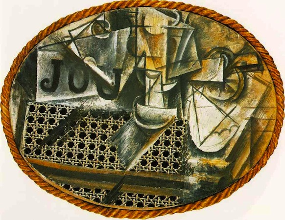 Pablo Picasso, Still Life with Chair Caning, 1912, oil on oil-cloth over canvas edged with rope, 29 x 37 cm (Musée Picasso)