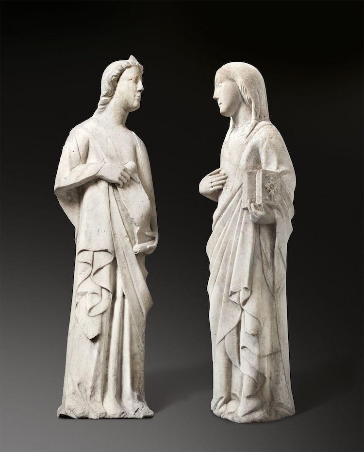 Andrea Pisano (workshop). Figures from an Annunciation to Mary. Circa 1345 Marble.  Precio mínimo estimado: 150 000 EUR Grisebach