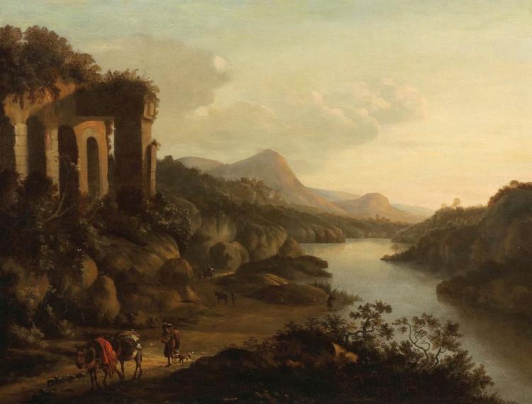 HORATIUS DE HOOCH (um 1652 - 1686) - Klassische Landschaft mit Personen vor antiken Ruinen, Öl/Lwd., signiert