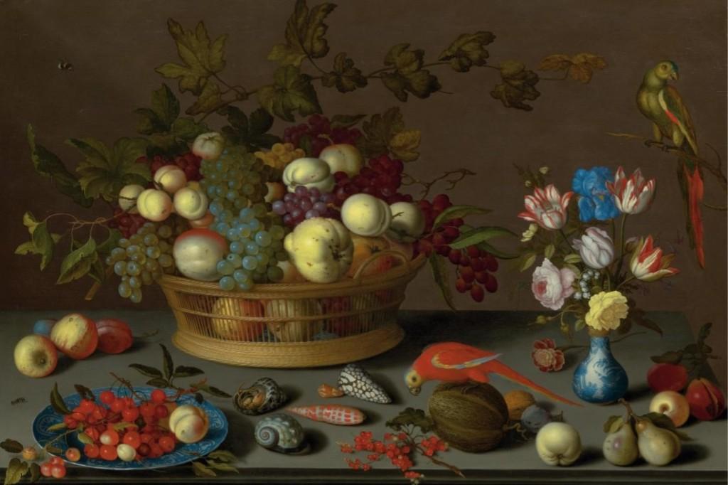 BALTHASAR VAN DER AST (Middelburg um 1593 - 1657 Delft) - Grosses Stillleben mit Früchten auf einem Delfter Keramikteller, Muscheln, Insekten, Blumen in einer Wanli-Vase und zwei Papageien, Öl/Holz, 70 x 107 cm, signiert, um 1620 Schätzpreis: 850.000-1.200.000 CHF (787.040-1.111.110 EUR)