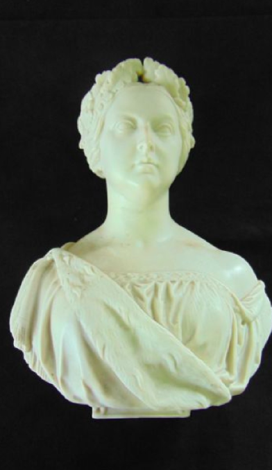 A 19th century Copeland Parian ware bust of Queen Victoria with impressed inscription to the base - Crystal Palace Art Union, marked to reverse W Theed Sculpt and dated 1864, with impressed Copeland mark.