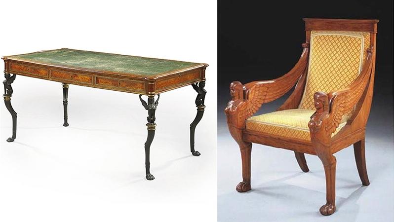 Gauche : A. Weisweiler / P. P. Thomire, bureau, fin du XVIIIe siècle, image ©Christie's / Droite: fauteuil du Directoire, fin du 18ème siècle, image ©Christie's