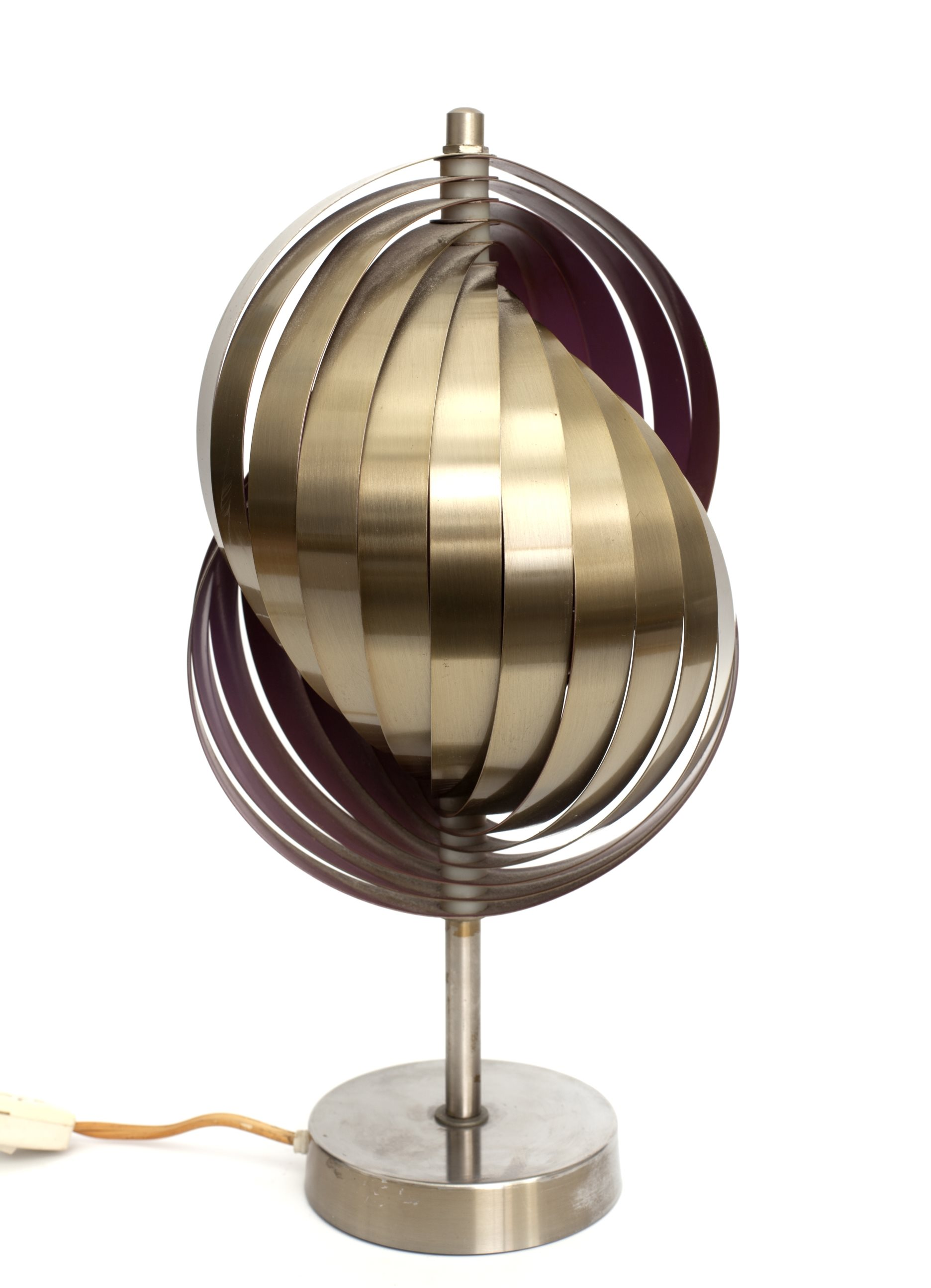 Henri Mathieu A metal spiral shell lamp, the inside lacquered in purple,1960s.