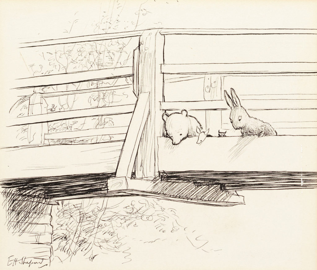 E.H. Shepard, dessin issu de The House at the Pooh Corner, image ©Sotheby's