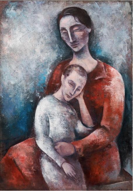 JOSEF FLOCH (Wien 1894 - 1977 New York) - Mutter mit Kind, Öl/Lwd., 110,5x75 cm, signiert, 1927/28 Schätzpreis: 150.000-300.000 EUR