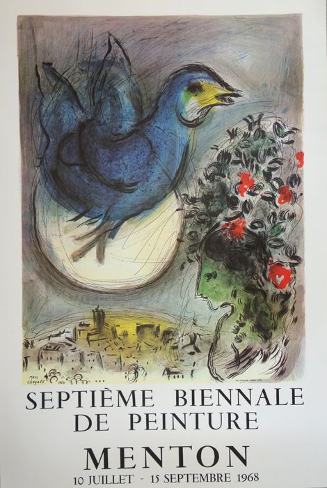 Marc Chagall, 'Biennale de Menton: Colombe Bleue', original vintage poster. Photo: Catawiki