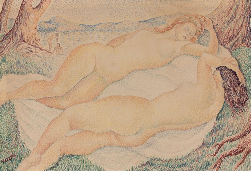 painting image two nudes watercolor
