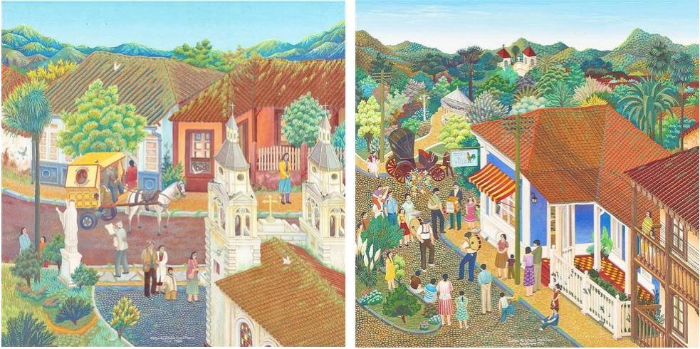Links: CARLOS ACEITUNO CANTILLANA (*1954 San Fernando) - Panadería Colchagua, Gouache/Papier, signiert und datiert, 1984 Rechts: CARLOS ACEITUNO CANTILLANA (*1954 San Fernando) - Tienda el Gallo, Acryl/Papier, signiert und datiert, 1983