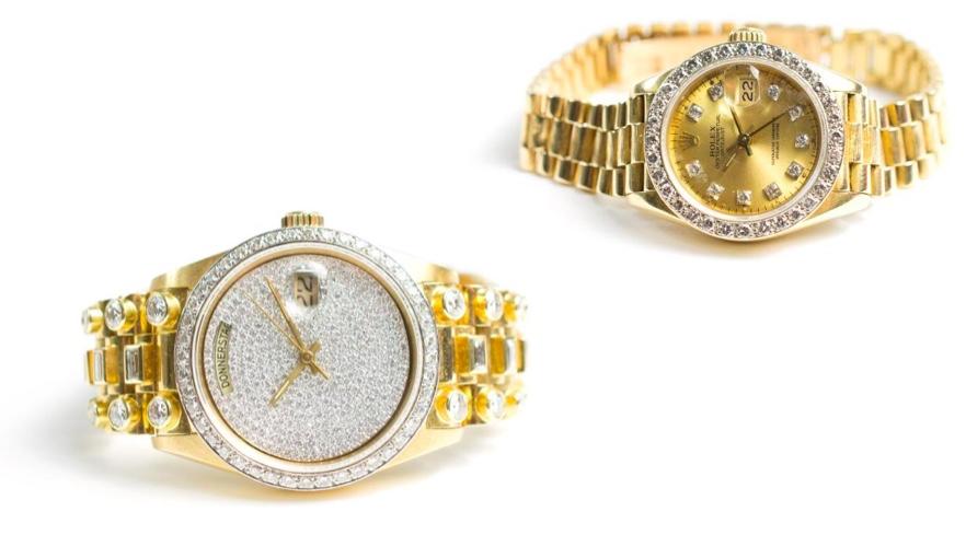 Links: ROLEX Oyster Day-Date President, GG mit Diamanten, Automatik, 1987 Rechts: ROLEX Lady Date-Just mit President-Armband, Gelbgold mit Brillanten, Automatik, 1980er Jahre