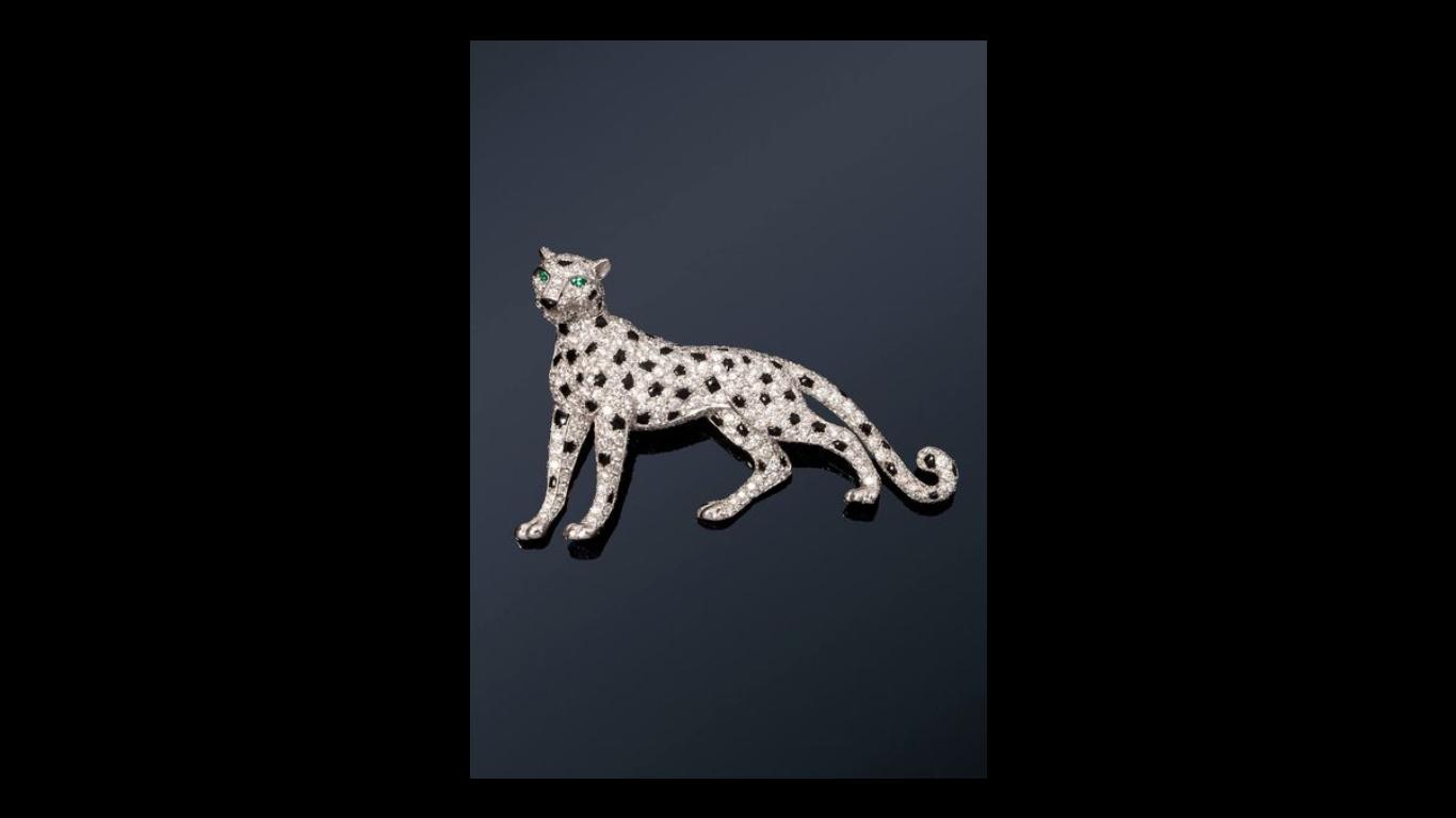 """Broche """"Panther"""" de Cartier en oro blanco y platino"""