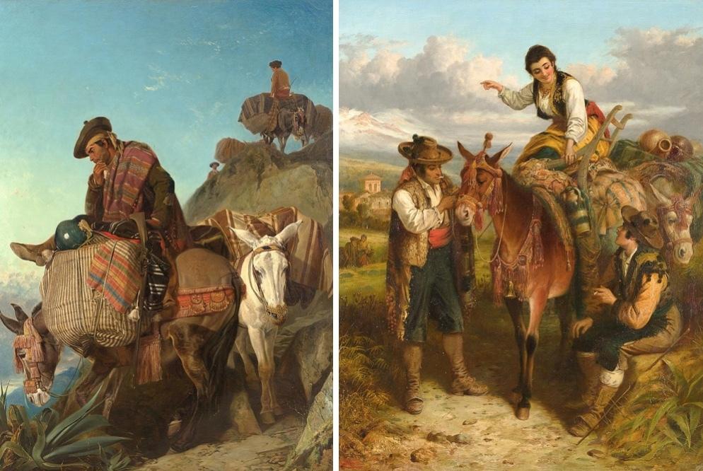 Vänster: RICHARD ANSDELL (1815-1885) - signerad och daterad 1859. Utrop: 22.000 EUR Höger: ROBERT KEMM (1837-1895) - signerad. Utrop: 30.000 EUR