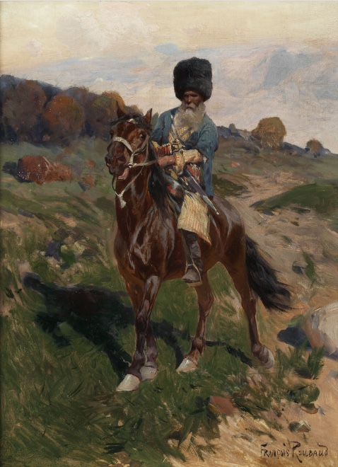 FRANZ (ALEKSEEVIC) ROUBAUD (1856 Odessa – 1928 München) - Bärtiger Kosakenreiter, Öl/Mahagoniplatte, 31 x 23,5 cm, signiert Schätzpreis: 18.000-22.000 EUR