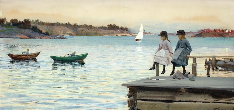 """Anders Zorn, """"Kapprodd"""", (1886), aquarelle Estimation: £616 000 – 770 000  Bukowskis  Vente internationale de cet automne"""