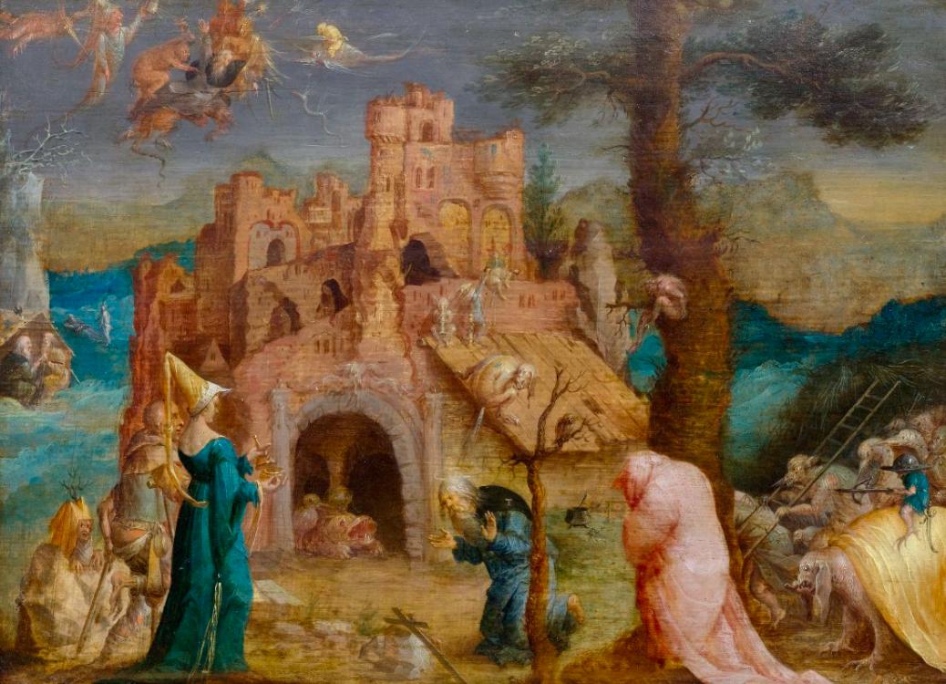 Jan Wellens de Cock, La tentation de Saint-Antoine, huile sur bois, image ©Koller