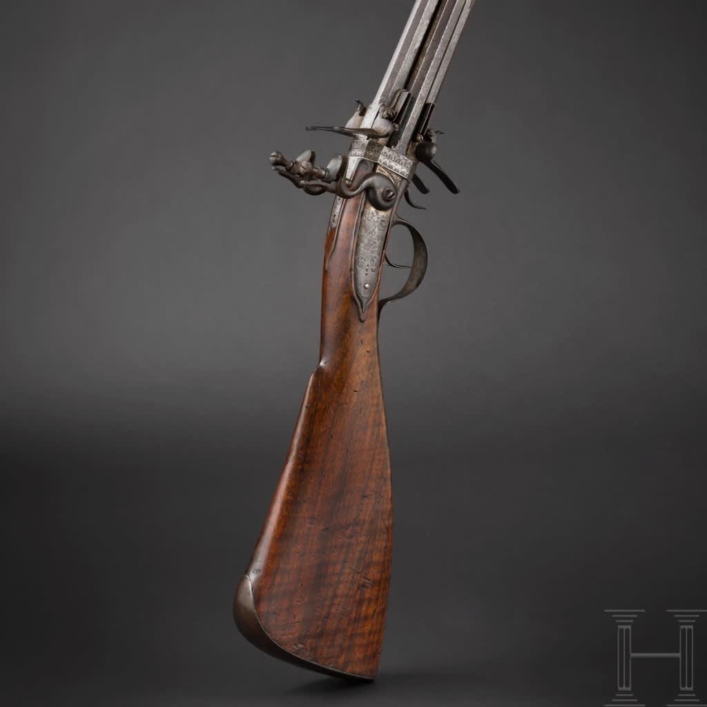 Ett vendergevär med flintlås,  tillverkat av vapensmeden Cornelius Clett cirka år 1660.