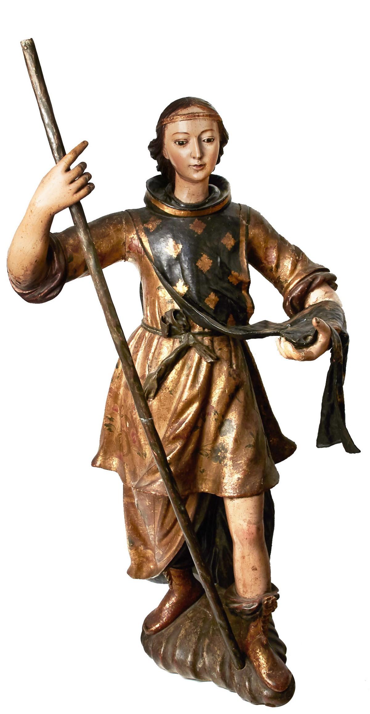 ESCUELA ANDALUZA. Arcángel San Rafael. Escultura en madera tallada, policromada y dorada (s. XVII)