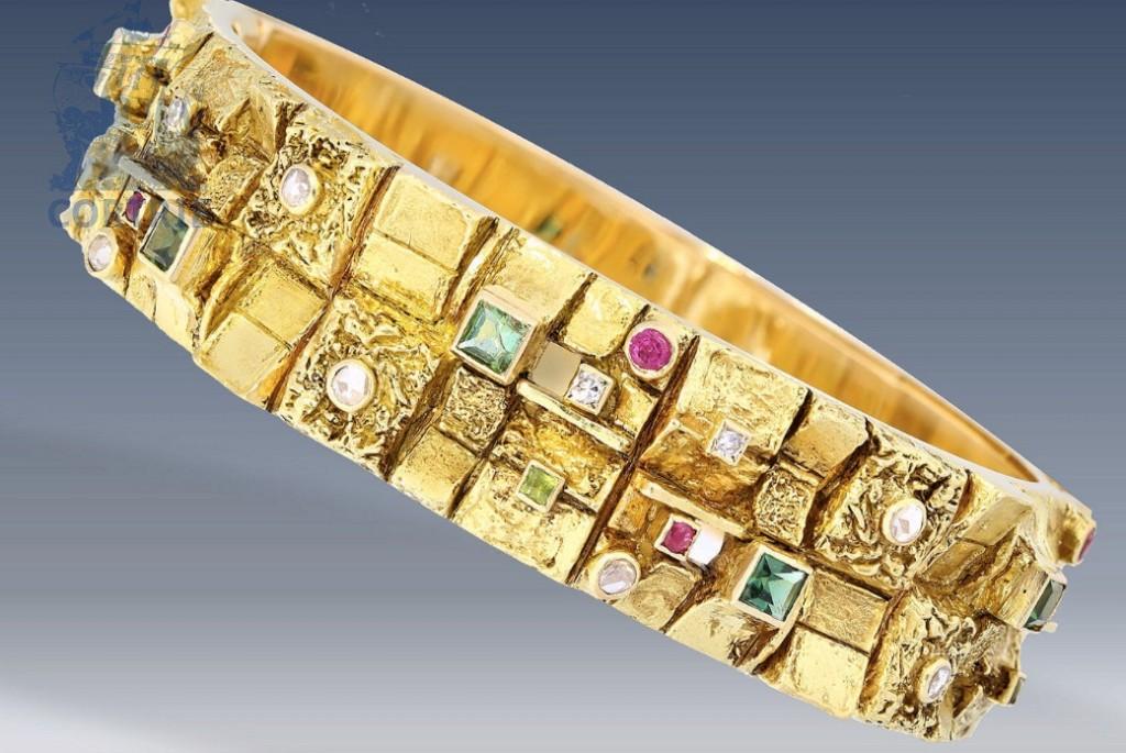 ANTON FRÜHAUF - Vintage Armreif aus GG mit Farbsteinen und Diamanten Schätzpreis: 2.000 EUR