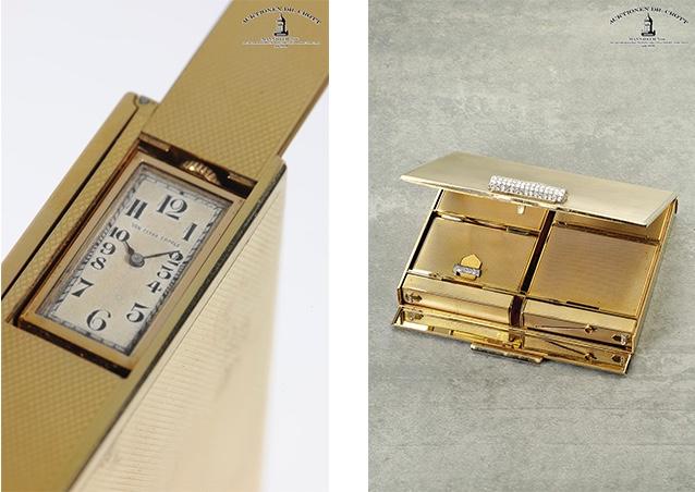 """VAN CLEEF & ARPELS - """"Minaudière"""" mit versteckter Uhr, GG, Brillanten, Paris ca. 1960"""