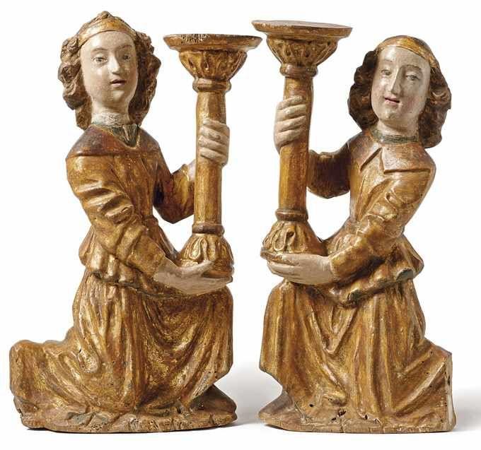 Paar gegenständige Leuchterengel, gefasst und teilw. vergoldet, Toskana 2. Hälfte 15. Jh. Schätzpreis: 3.800 EUR