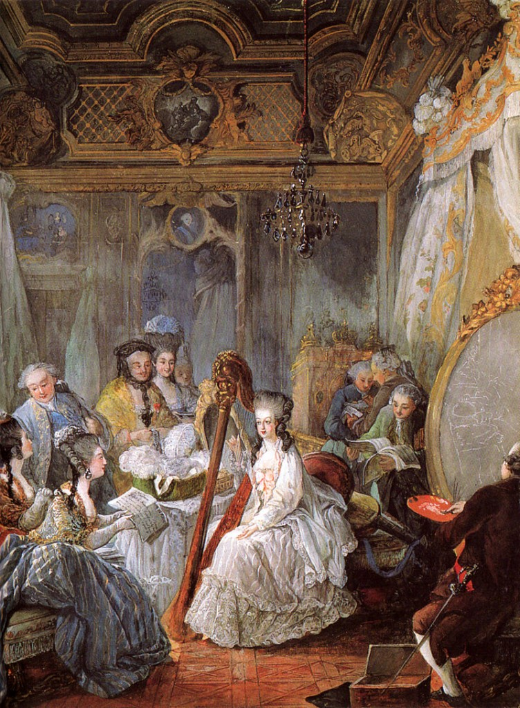 Jean-Baptiste André Gautier-Dagoty, Marie Antonette beim Harfespiel, 1777