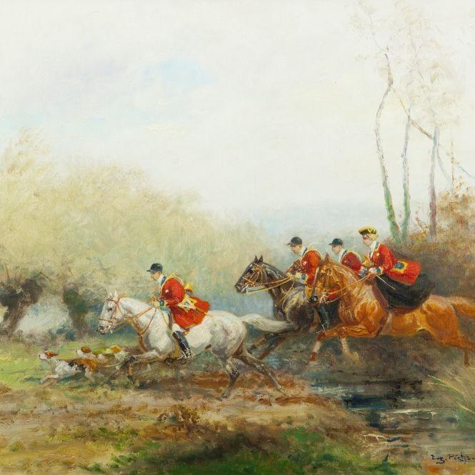 Eugène PÉCHAUBÈS.  Scène de chasse à courre Expertissim
