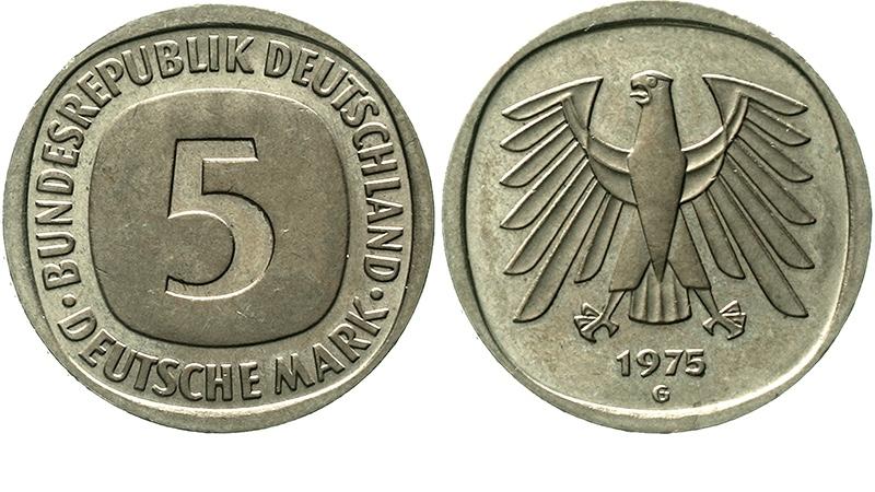 BRD, 5 Mark Kursmünze 1975