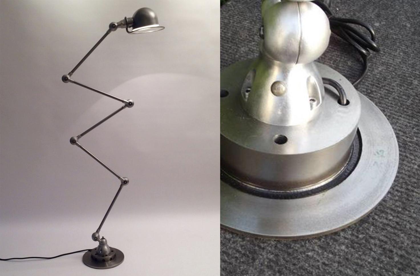 Gauche : Lampe Jean-Louis Domecq image de représentation, droite : détail du modèle Catawiki