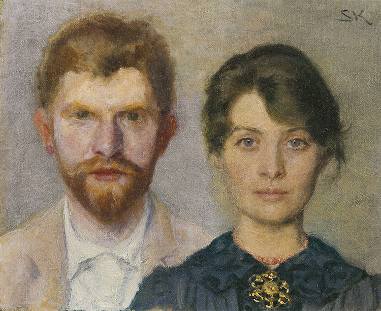 Double portrait depicting the Danish artist couple Marie and Peder Severin. The couple painted one another in this piece.