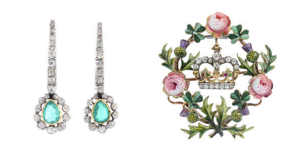 To the left: Earrings. To the right: Brooch. Image: Fellows
