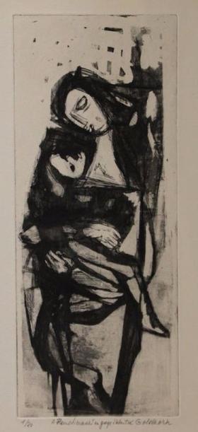 Georges GOLDKORN (1907-1961). Femme à l'enfant. Eau-forte sur papier Le Chesnay Enchères