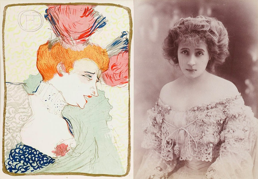 Links: HENRI DE TOULOUSE-LAUTREC (1864 Albi - 1901 Saint-André-du-Bois) - Mademoiselle Marcel Lender, en buste, Farblithografie/Papier, monogrammiert Rechts: Tänzerin Marcelle Lender (1862-1926)   Abb. via Wikipedia
