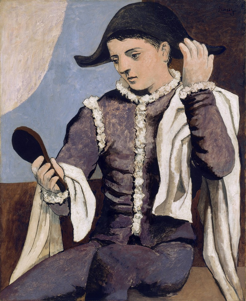 PABLO RUIZ PICASSO. Arlequín con espejo (1923). Museo Thyssen-Bornemisza, Madrid © Sucesión Pablo Picasso, VEGAP, Madrid, 2016