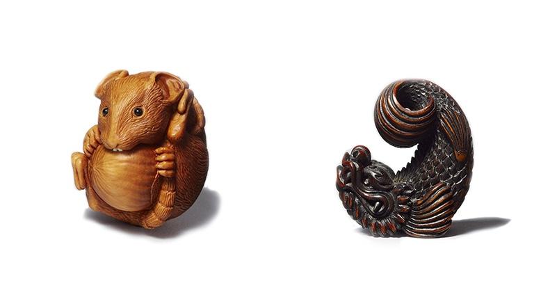 Links: ALEXANDER DERKACHENKO - Maus mit Nuss, Buchsbaum, Mammutelfenbein, 2014 Rechts: SHACHI (SHAHIHOKO) - Zanmai, Buchsbaum, Perlmutt, 2017